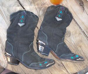 ZODIAC Western Cowgirl Boots BLACK Leather w/ Aqua & Purple Cowboy USA Women 8.5