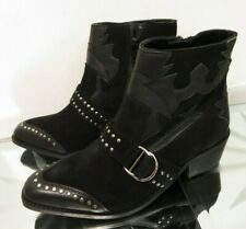 VERY Stylish,Studded black suede ankle boots,Size 5  EU 38,Suede,Cowboy style