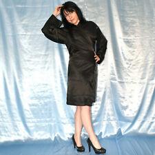schwarz glänzender MORGENMANTEL* M Satin Negligee* Bademantel* Nachthemd* Kimono