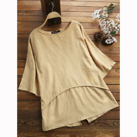 Plus Size Womens Casual Loose Cotton Linen Short Sleeve T Shirt Blouse Tunic Top