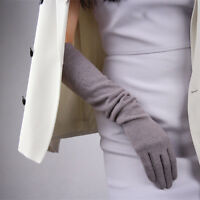 Cashmere Wool Gloves Opera Evening Long Arm Warmers Sleeves Purple Pearl Heather