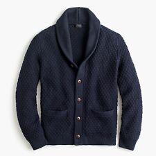 $120 NWT J CREW Quilted Shawl Collar Navy men's Large cotton cardigan sweater