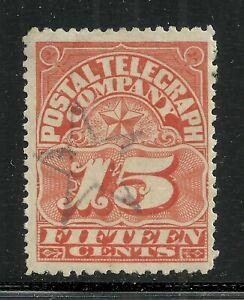 U.S. Revenue Telegraph stamp scott 15t2 - 15 cent Postal Telegraph Company - #15
