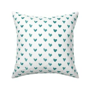 Teal Blue Heart Hearts Throw Pillow Cover w Optional Insert by Roostery