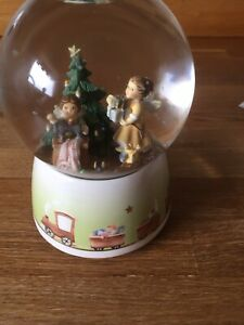 Vintage Snow Globe, Angels And Christmas Tree, Musical, Plays 'Holy Night'