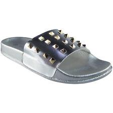 Womens Ladies Comfy Plain Rubber Stud Sliders Flats Shoes Slides Slippers Size