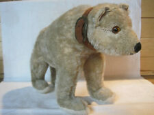 Antique mohair standing humpback bear, leather collar, glass eyes excelsior fill