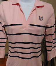 Tommy Hilfiger Women's Small  Pink Striped V-Neck Cotton Top