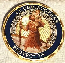 ST CHRISTOPHER Bronze Coin Saint Medal Medallion Carrying Baby Lord Jesus River