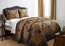 3pc Braden Country Quilt Set by Olivias Heartland Black & Tan with Stars Queen