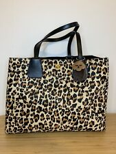 KAREN MILLEN Leopard Tote Bag GC101 Animal Print Structured Pony & Leather