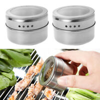 12x Multi-Purpose Spice Storage Tins Clear Top Lid with Sift or Pour Magnetic