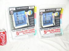 2 Pkg C Line Top Loading Sheet Protectors 5 Color Tabs Holds 8 12 X 11 05550