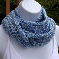 Blue White INFINITY SCARF Small Narrow Handmade Crochet Circle Winter Loop Cowl