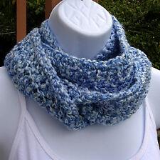 Blue White INFINITY SCARF Small Narrow Handmade Crochet Circle Winter Loop Cowl