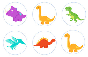 Cute Dinosaurs Edible Cupcake Toppers Decoration