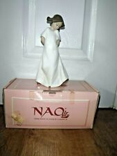 LLADRO NAO Figurine ~ 1109 ~ So Shy ~ Girl In White Dress ~ Excellent ~ BOXED