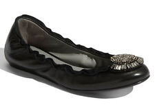 NEW VERA WANG LAVENDER Latisha Ballet Flat Size 8 Black Nappa Leather/Crystals