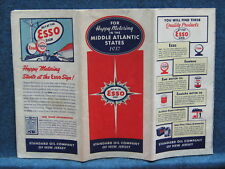 1937 Esso  MIDDLE ATLANTIC STATES Vintage Road Map -MD DE DC VA WVA Adj.States