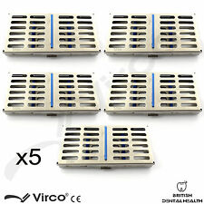 5 x sterilizzazione Cassetta con divisori VASSOIO HOLD 7 dentale CHIRURGICO