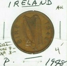 1948 Ireland One Penny Coin with Harp, Hen and Chicks!