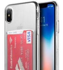 For iPhone X - TPU RUBBER CASE TRANSPARENT CLEAR CREDIT CARD SLOT HOLD