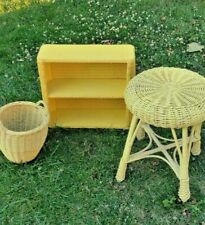 Vintage Yellow Wicker Bathroom Set~ Wicker Shelf, Wicker Stool, Wicker Shelf