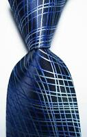New Classic Checks Blue JACQUARD WOVEN 100% Silk Men's Tie Necktie