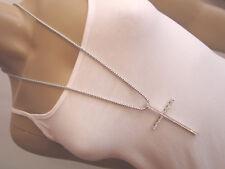 Damen Hals Kette Modekette Modeschmuck lang Silber XL Anhänger Strass Kreuz k165