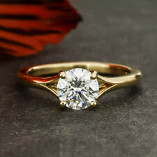 0.70 Carats VVS1 D Round Cut Mossanite Engagement Ring in 14k Yellow Gold