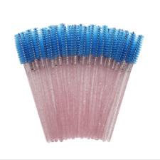 20x Disposable Blue Eyelash Makeup Brush Crystal Pink Handle Mascara Wands