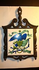 Rare Vintage Cast Iron Trivet Ceramic Tile American Eagle Patriotic Coat of Arms