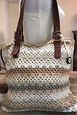 The Sak Crochet & Faux Leather Straps Large Tote Handbag Purse Ivory-White-Grey