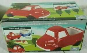 Ceramic Vehicle Planter 5.5 x 3 Inch Red Truck With Back Hitch New Free Ship