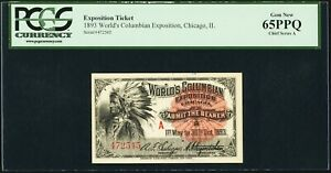 "World's Columbian Exposition Ticket Indian Chief ""A"" Ticket 1893, GEM, PCGS 65"