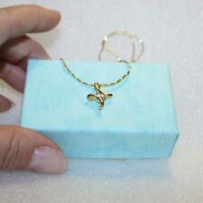 Diamond Alternatives Cross Pendant Necklace 14k Yellow Gold over Base