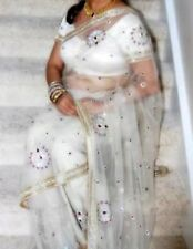 white net saree and blouse  with stone work