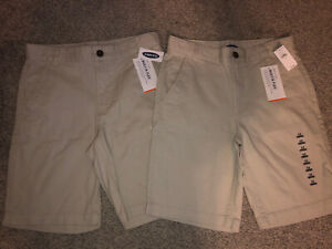 NWT Lot of 2 Pair Old Navy Khaki Beige Youth Shorts Built-In Flex Boy's Size 12