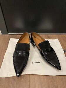 Celine Pointed Patent Leather Suede Loafers - Black / 37.5