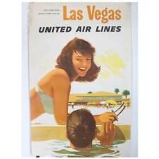 Vintage American STAN GALLI United Air Lines Airline Poster, Las Vegas c. 1957