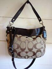 COACH Zoe Signature & Leather Brown Hobo Handbag F14708  $348