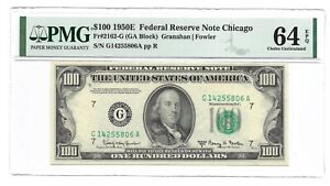 1950E $100 CHICAGO FRN, PMG CHOICE UNCIRCULATED 64 EPQ BANKNOTE