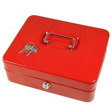 "10"" Petty Cash Box Black Metal Security Money Safe Tray Holder Key Lock Lockable"