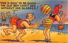 Comic postcard Fat Lady beach ball or Big Butt Can't See without His Glasses