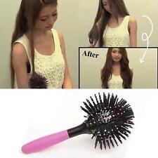 3D Bomb Curl Brush - Styling Salon Round Hair Curling Curler Comb Tool PINK UP