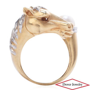 Estate Pearl 14K Two Tone Gold Horse Head Ring 10.6 Grams NR