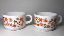 Lot2 2 Tazas Vintage Arcopal Francia D 7,5 Cm Flores Naranja Ver Fotos