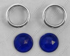 Glass Blue Dots SHORT Feet Jewel Chrome Bezels Lenses Taillights Tail Light Dot