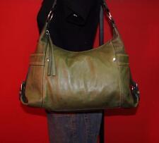 FOSSIL Medium CASTILLE Green Leather Hobo Slouch Shoulder Rugged Tote Purse Bag
