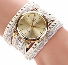 Womens Vogue Bracelet Watches Shinny Crystal Rivet Quartz WristWatch reloj